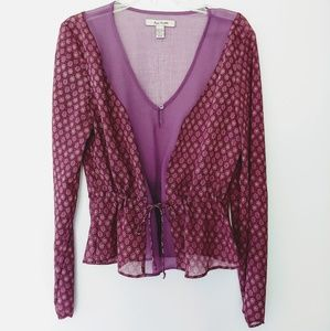 Free People Plum Sheer Blouse with Tie-Waist